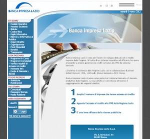Il sito ufficiale della Banca Impresa Lazio