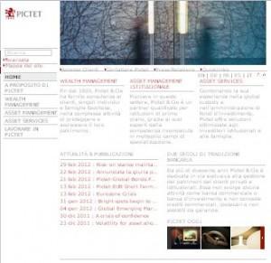 Il sito ufficiale della banca Pictet & Cie
