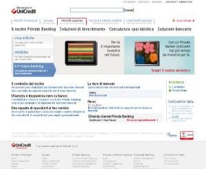 Il sito ufficiale del Private Banking di Unicredit