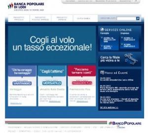 Il sito ufficiale della Banca Popolare di Lodi